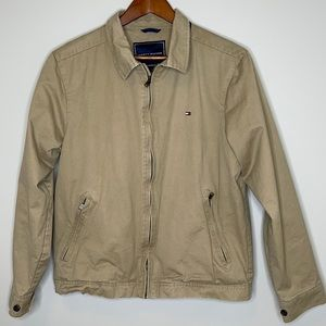 Tommy Hilfiger classic tan logo front zipper lined jacket Size Small